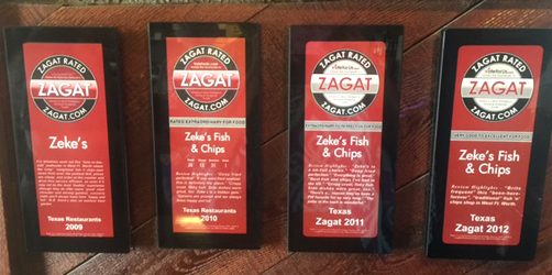 Four Zagat Awards for Zeke's Fish & Chips