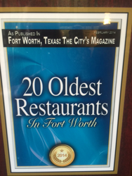 "Cover of ""20 Oldest Restaurants in Fort Worth"" in Fort Worth, Texas: The City's Magazine"